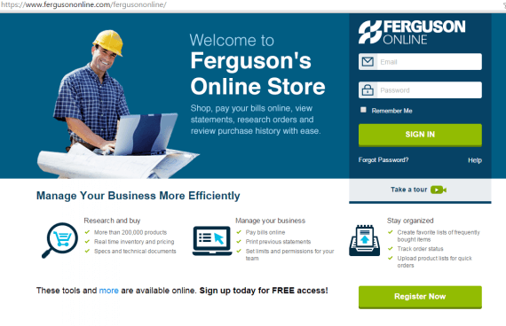 Ferguson, a plumbing supplier, allows business customers to quickly order products online, making it easier for those customers to do their jobs.