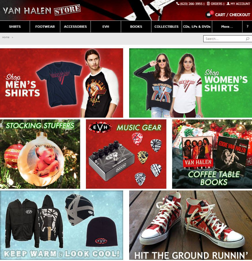 Van Halen Store showcases the seven most popular gifts this season on its home page.