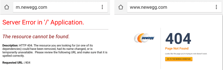 Take care to implement friendly error messages on all subdomains, such as this one from Newegg, at <em>m.newegg.com</em>.