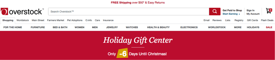 """Overstock.com displayed this Christmas banner six days after Christmas. The text, in yellow, says """"-6 days"""" (negative six days) until Christmas."""