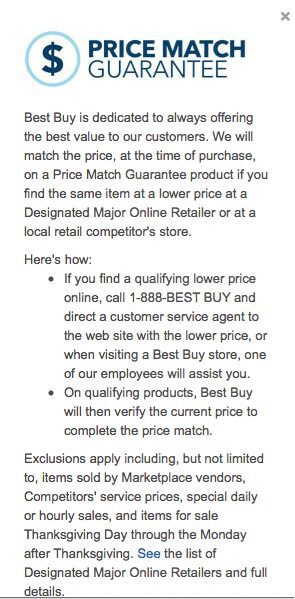 Best Buy carefully explains its price match guarantee in this paragraph. But the paragraph contains a link to the list of online retailers that are part of this price match. This link did not work.