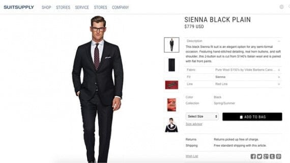 Using keywords representing the objects in an image, an app could search sites like Suitsupply and return a list of similar products.