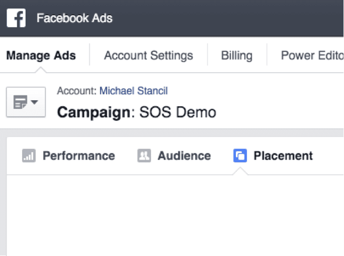 """To view a placement report, go to the campaign you want to view while at Ads.facebook.com, and click """"Placement."""""""