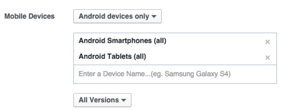 Segmenting by operating system, device, device category, and version choice.
