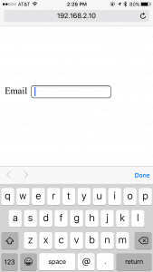 """In HTML5 on a mobile browser, the """"email"""" input keyboard defaults to text."""