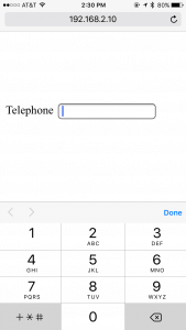 """The """"telephone"""" input field in HTML5 defaults to numbers on a mobile browser."""