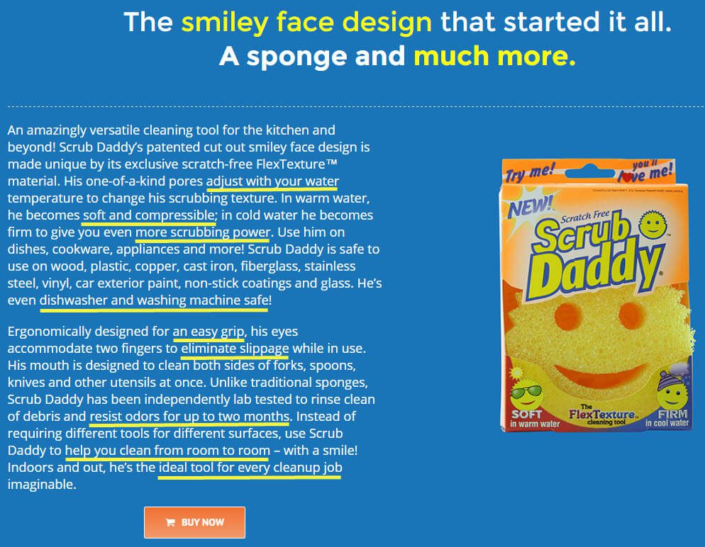 The original Scrub Daddy sponge aims to solve many issues, and the write-up conveys that.