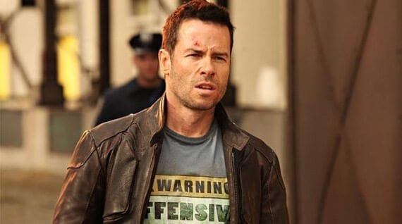 """Ecommerce merchants often struggle with content-marketing ideas. But there are actually endless sources of inspiration. For example, a t-shirt retailer could note a t-shirt in a movie. This """"Warning Offensive"""" t-shirt, from the movie Lockout, could spark the idea for an article about t-shirts from science fiction movies."""
