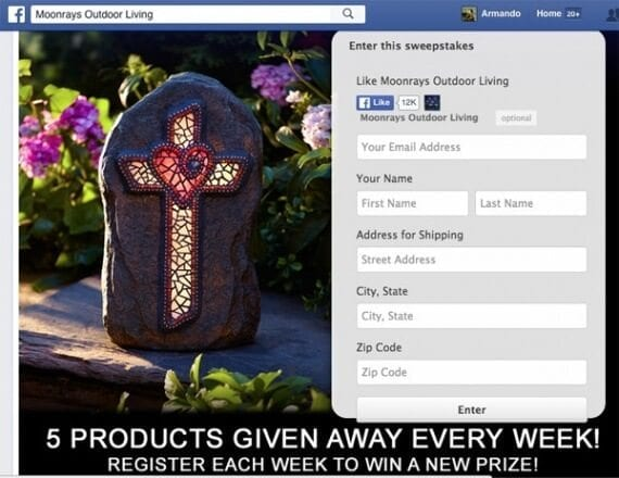 Contests can build awareness and help grow lists for future marketing. Moonray's, a seller of landscape accessories, runs sweepstakes on Facebook. Folks simply enter for a chance to win.