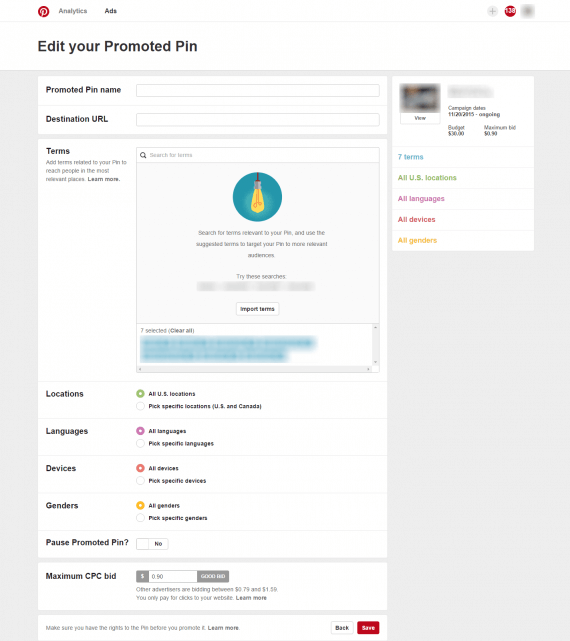 After an advertiser launches a Promoted Pin, he can then edit the URL to add tracking parameters.