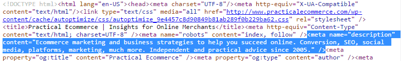 The meta description for Practical Ecommerce's home page.