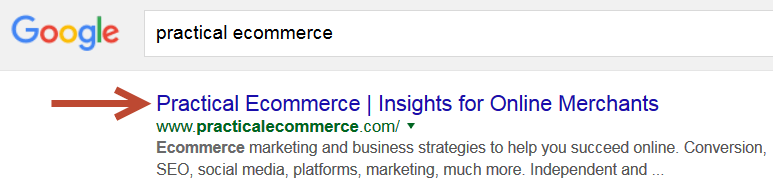 title tag as search results link