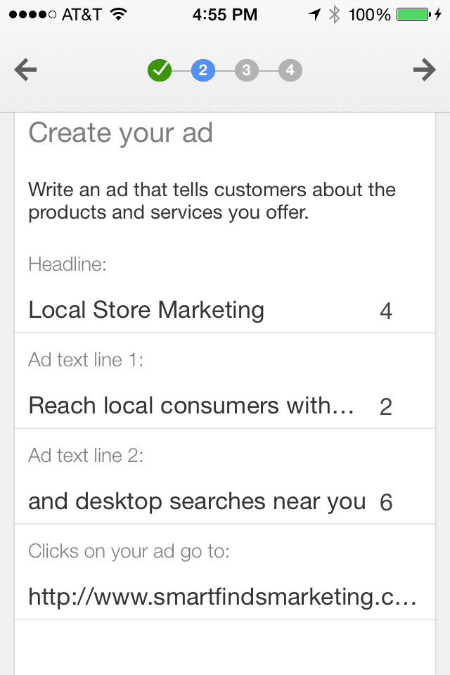 AdWords Express create mobile ad, step 2.