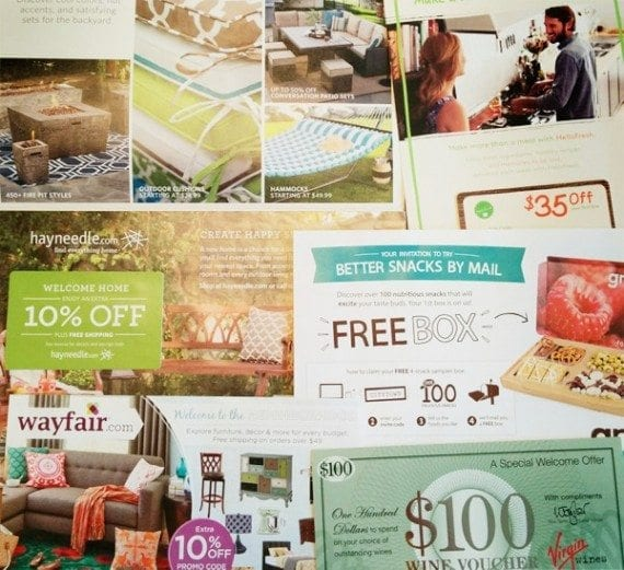 Online retailers Hayneedle, Wayfair, Virgin Wines, Graze, and HelloFresh use direct mail for marketing.