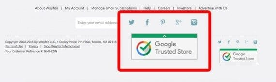 Trust badges appeared on 31 percent of the sites surveyed. The Google Trusted Store badge, like the one in the Wayfair footer, was one of the most common trust badges seen.