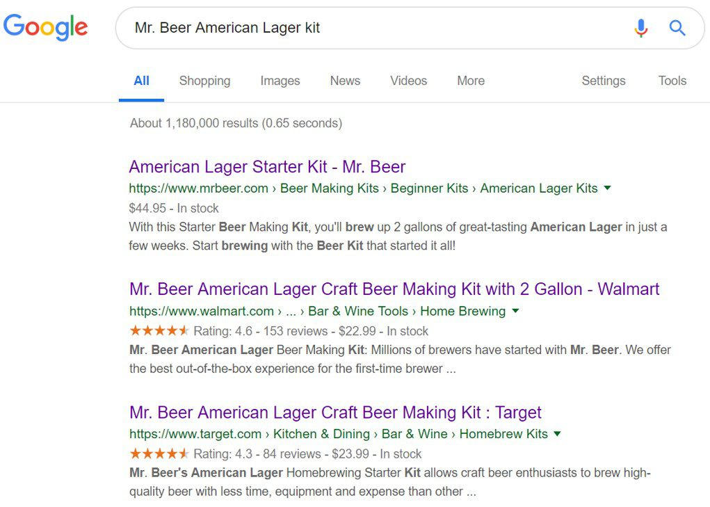 """Google search results for """"Mr. Beer American Lager kit."""" The first listing, from MrBeer.com, has no rich results. The next two listings, from Walmart.com and Target.com, include rich results."""