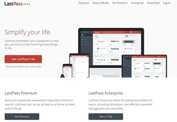 LastPass home page focuses on password storage over security