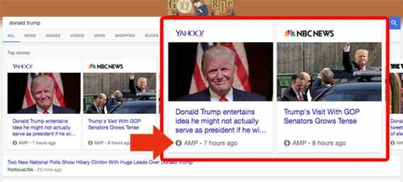 """Search """"Donald Trump"""" on a mobile device and Google may return a page with AMP formatted articles at the top."""