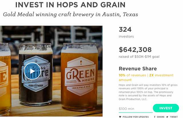 Hops and Grains utilizes Wefunder to raise equity capital. Hops and Grains intends to pay investors 10 percent of gross revenues until 100 percent of the principal is returned, plus an additional 100 percent.