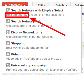 "Clicking the ""+ Campaign"" dropdown, you're presented with options. Google has placed ""Search Network with Display Select"" at the top of the list and the description reads ""Best opportunity."""