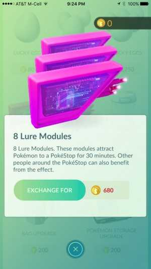 Lure Modules can be purchased with Pokécoins to attract Pokémon to a location.