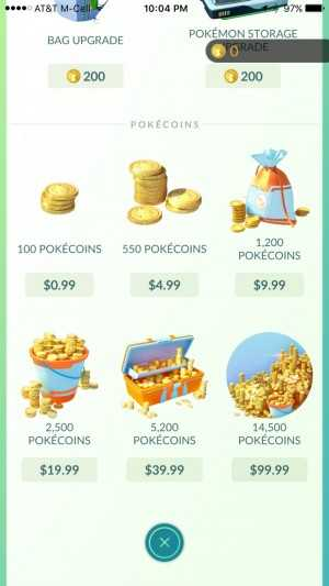 Purchase Pokécoins with real money.