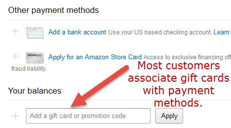 Minimize confusion by collecting gift card info alongside payment details. Source: Amazon