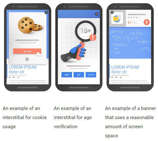 "Google states that these are ""examples of interstitials that would not be affected by the new signal, if used responsibly."" <em>Source: Google Webmaster Central Blog.</em>"