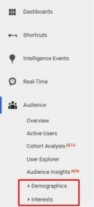 """Demographics"" and ""Interests"" reporting appears in the ""Audience"" menu."