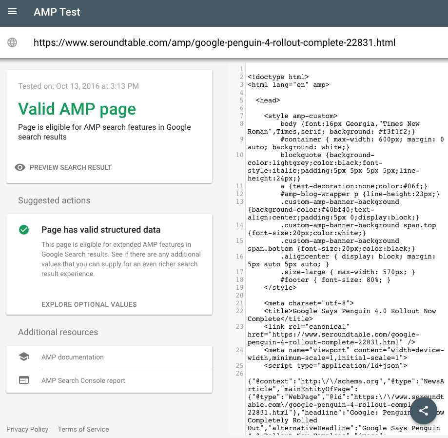 The AMP testing tool in Google Search Console includes a share button to send test results to those who can help discuss and resolve mistakes.