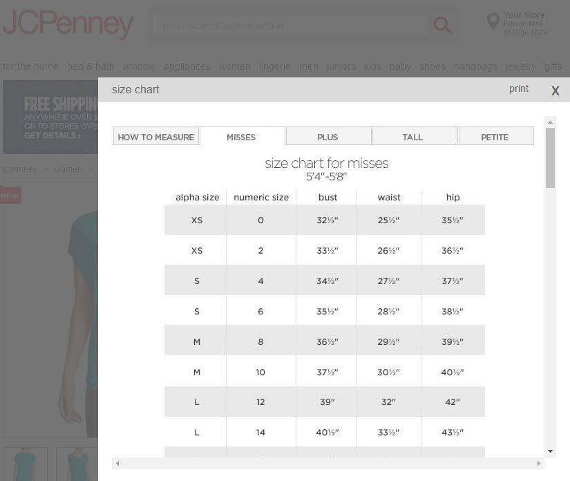 J.C. Penney uses generic size charts for many of the brands it carries. This can lead to dissatisfaction and increase returns.