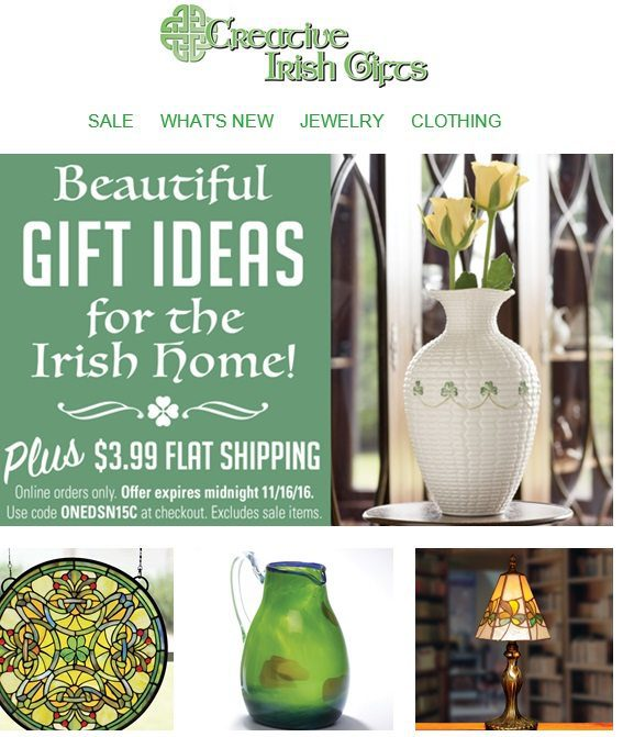Creative Irish Gifts sends this holiday-themed email to lapsed customers. But it does not email those customers during the rest of the year, which makes sense given the infrequency of their purchases.