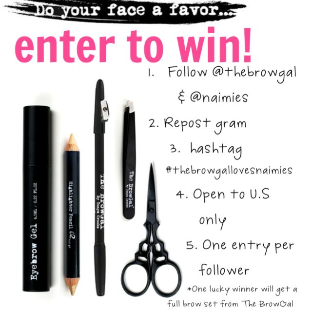 The Brow Gal uses the repost method to enter Instagram's users in its giveaway.