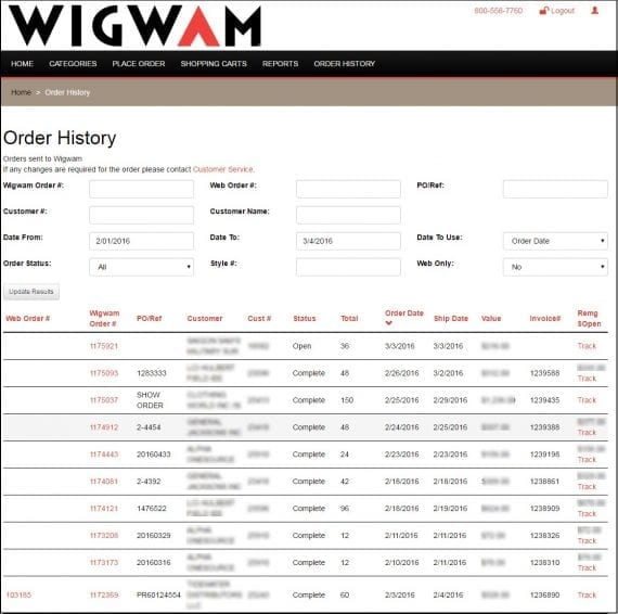 Wigwam's sales reps can look up online and offline order statuses via the ecommerce portal.