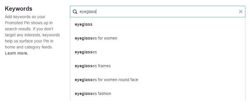 Pinterest offers ad targeting using keywords, such as this example with eyeglasses.