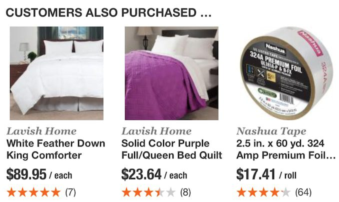 When searching for a clothing item or a lamp at Home Depot, the visual search recommendations were unrelated. In this example, Nashua Tape is being recommended with comforters and quilts.