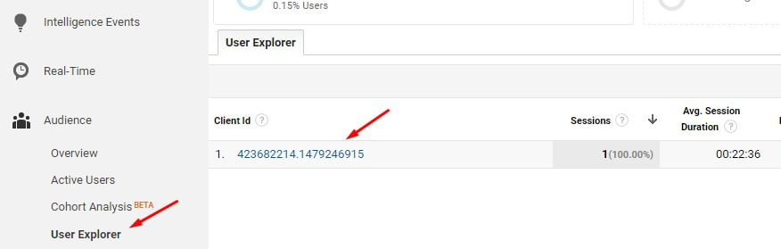"""To see the sequential steps and timing for each user, go to """"Audience > User Explorer."""""""