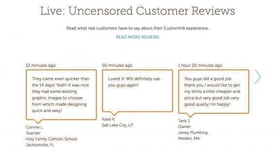 """CustomInk shows """"Uncensored Customer Reviews"""" to demonstrate that its customers are pleased."""