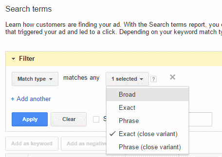 """Advertisers will need to review their search queries more often and run filters looking for """"Exact (close variant)."""""""