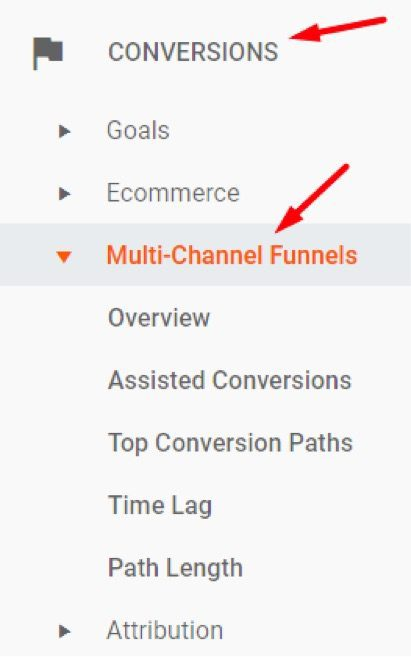 To access the Multi-Channel Funnels reports, go to Conversions > Multi-Channel Funnels.