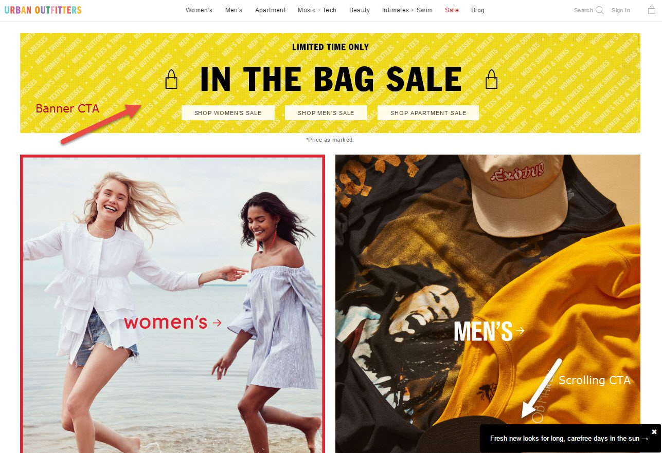Using top-of-page banners to promote sales and special features can work well. Urban Outfitters also uses a scrolling slide-in feature to entice shoppers to peruse new looks for the summer.