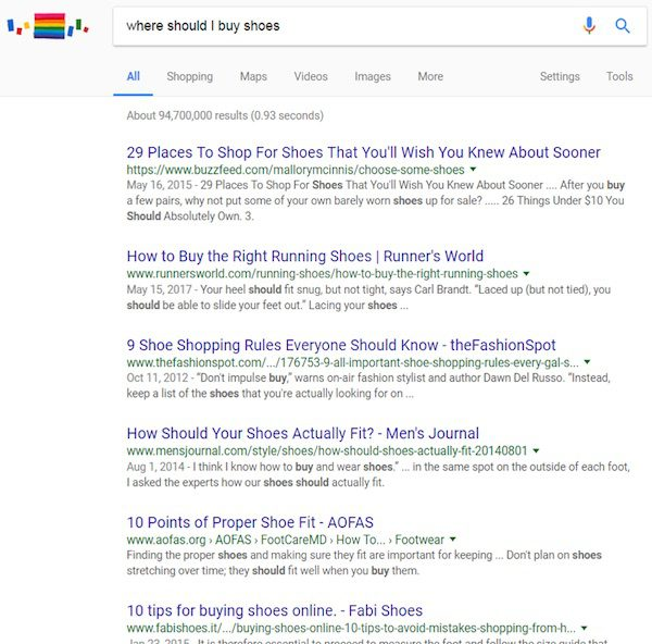 """Google search results for the opinion-based query """"Where should I buy shoes?"""""""