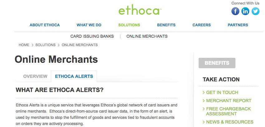 Credit-card chargebacks plague most ecommerce companies. There are steps that merchants can take, however, to reduce chargeback risk. One is using a third-party service, such as Ethoca, that connects data from card issuers and online merchants to reduce fraudulent orders, and fraudulent chargebacks.