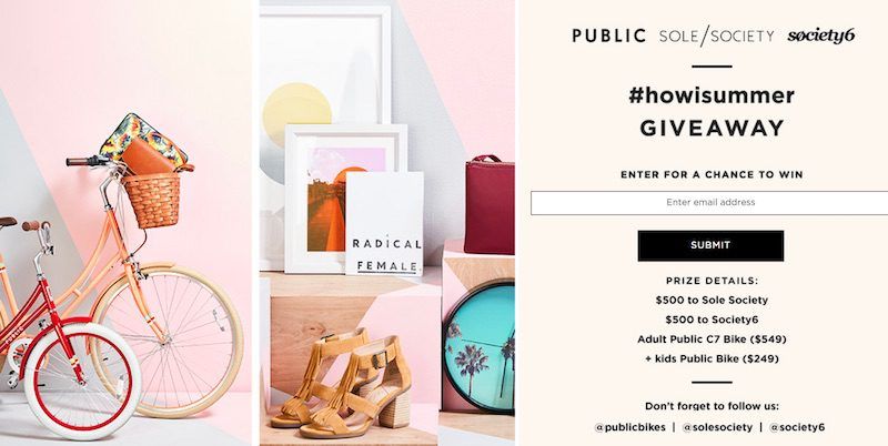 Retailers Sole Society, Public, and Society 6 teamed up to create a #howisummer social media promotion.