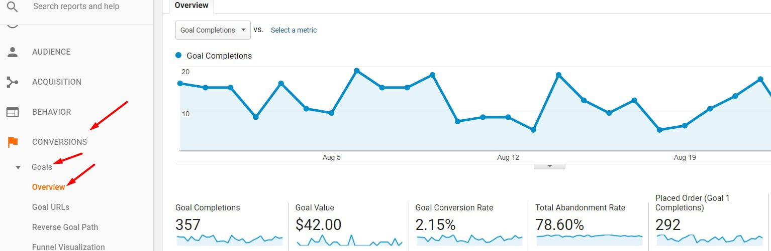 Go to Conversions > Goals > Overview to enable goals and to see which are working or have broken.