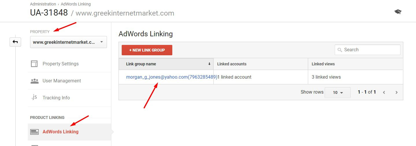 Ensure AdWords is linked to Analytics by going to Admin > Property > AdWords Linking.