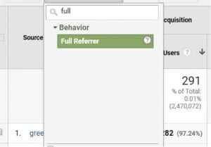 """Create a secondary dimension by """"Full Referrer."""""""