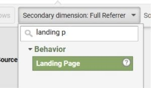 """Apply a secondary dimension by """"Landing Page"""" to identify landing pages that could be responsible for tracking issues."""