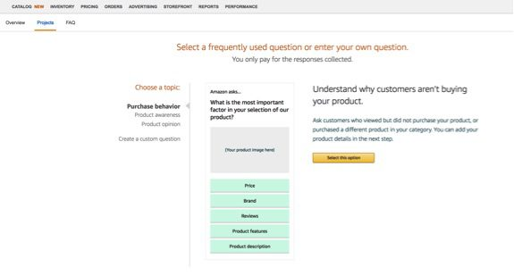 """Tell Amazon what you are most interested in understanding. Topics are: """"Purchase behavior,"""" """"Product awareness,"""" """"Product opinion,"""" or """"Create a custom question."""""""
