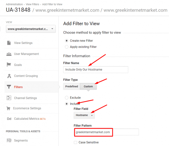 """At Admin > View Settings > Filters, click """"+ Add Filter,"""" and give the filter a name. Select """"Custom"""" and """"Include"""" as the filter type and then """"Hostname"""" and enter your domain."""